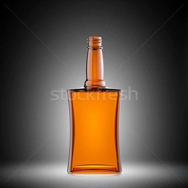Vacío rojo vidrio botella brandy gris Foto stock © Arsgera