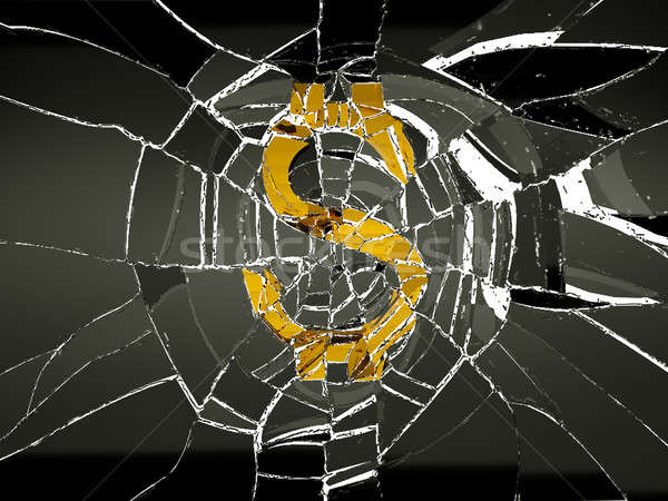 Broken US dollar symbol and shattered glass Stock photo © Arsgera