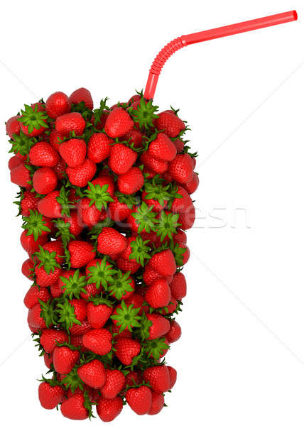 Glass shape assembled of strawberry with straw Stock photo © Arsgera