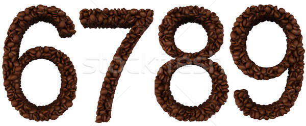 Coffee font 6 7 8 9 numerals Stock photo © Arsgera