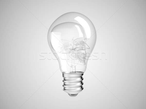 Skull inside Lightbulb - health or death Stock photo © Arsgera