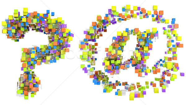 Abstract cubes font at and query symbols Stock photo © Arsgera