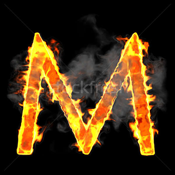 Burning and flame font M letter Stock photo © Arsgera