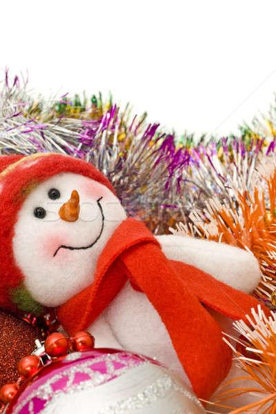 Foto stock: Navidad · muñeco · de · nieve · decoración · blanco · vidrio