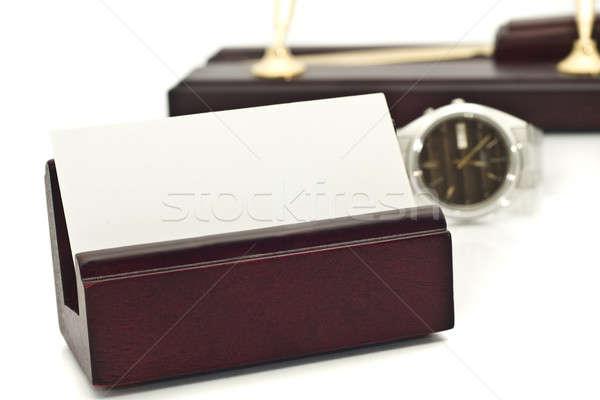 Cartão branco cartão de visita ver canetas suporte Foto stock © Arsgera