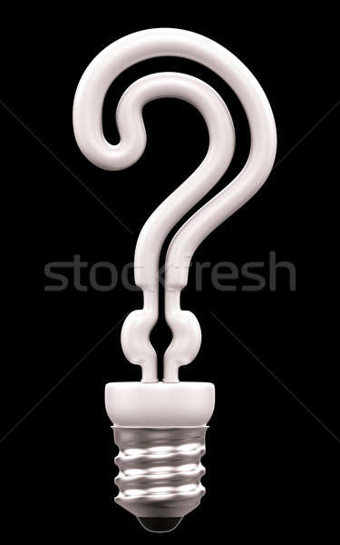 Query mark light bulb isolated on black Stock photo © Arsgera