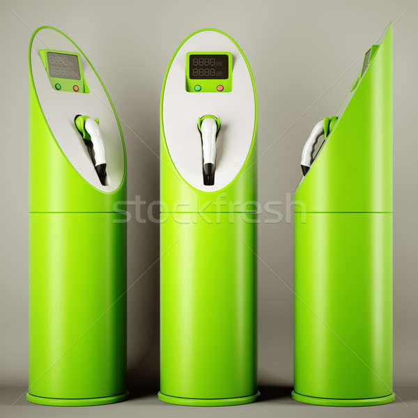 Green fuel: group of charging stations Stock photo © Arsgera