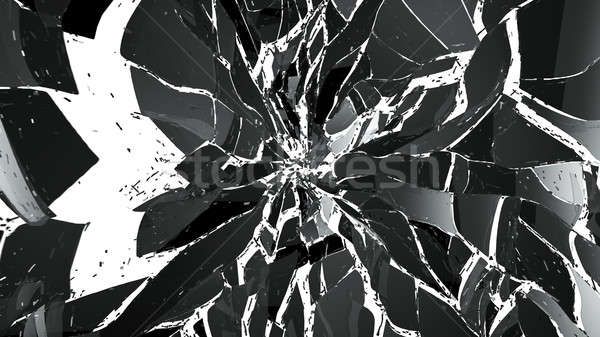 Shattered pieces of glass on white Stock photo © Arsgera