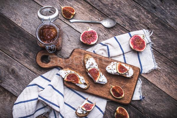 вкусный брускетта Jam салфетку деревенский стиль Сток-фото © Arsgera