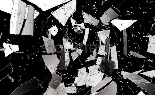 Pieces of destructed or Shattered glass isolated Stock photo © Arsgera