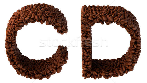Roasted Coffee font C and D letters Stock photo © Arsgera