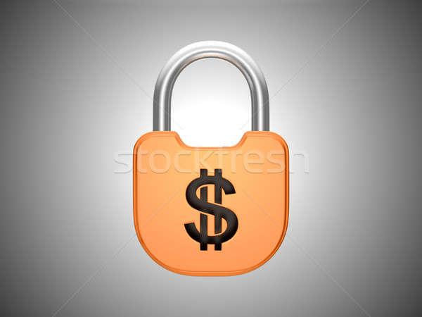 Locked padlock: US dollar currency Stock photo © Arsgera