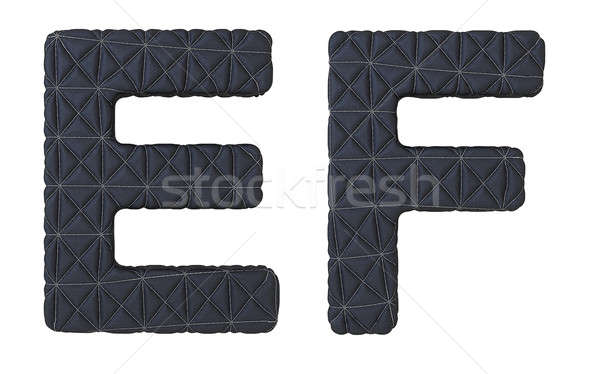 Luxury black stitched leather font E F letters Stock photo © Arsgera