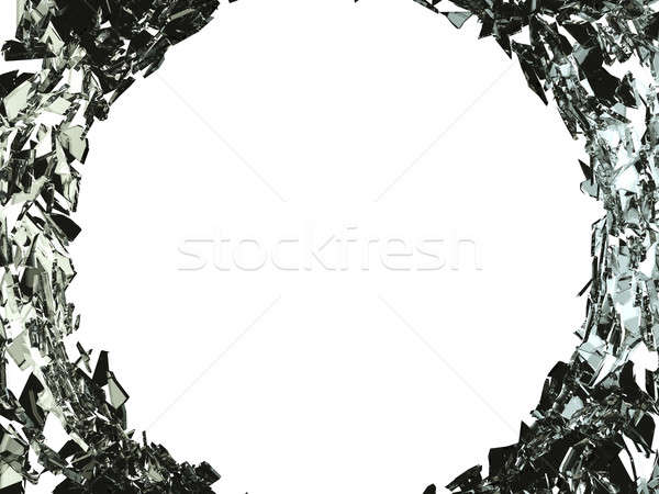 Big bullet hole and shattered glass on white Stock photo © Arsgera