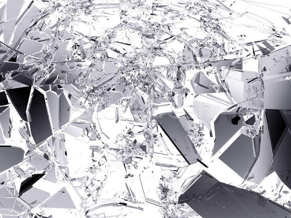Pieces of Broken or Shattered glass isolated Stock photo © Arsgera