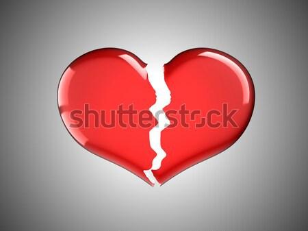 Sickness and pain. Red Broken Heart Stock photo © Arsgera