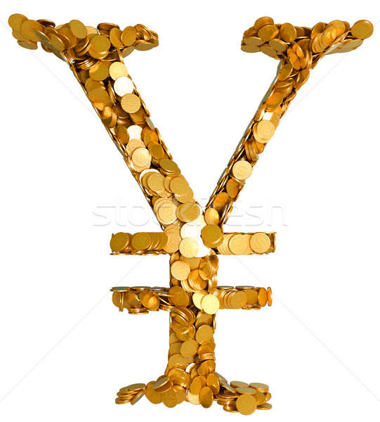 Yen currency and cash. Symbol assembled with coins Stock photo © Arsgera