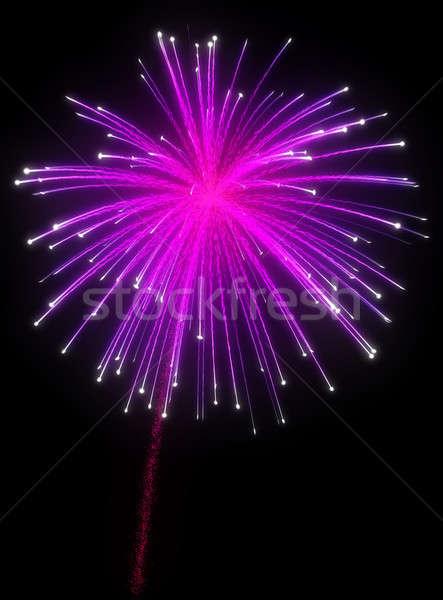 Roxo fogos de artifício noite preto céu Foto stock © Arsgera
