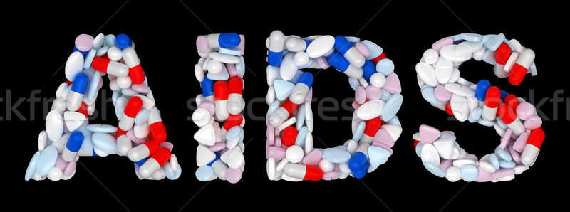 AIDS word: pills and tablets shape Stock photo © Arsgera