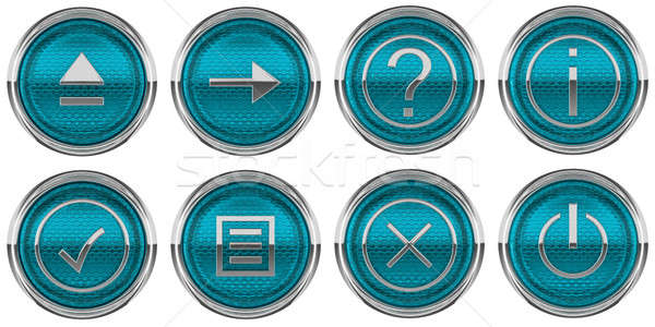 Round Blue Control icons set isolated  Stock photo © Arsgera
