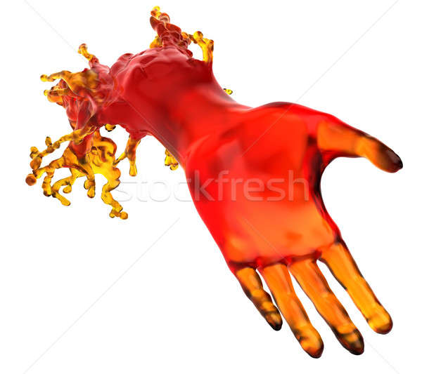 Lending a helping hand: red liquid shape  Stock photo © Arsgera