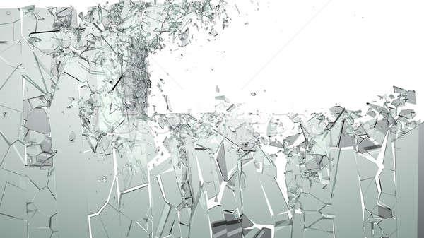 Smashed and shattered glass isolated Stock photo © Arsgera
