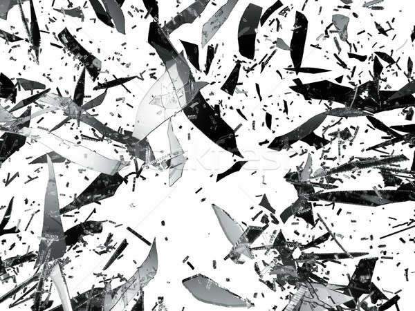 Shattered or Splitted glass Pieces isolated Stock photo © Arsgera