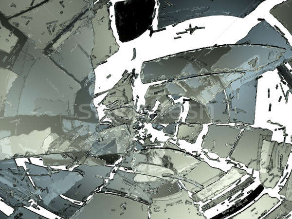 Pieces of Destructed or Shattered glass on white Stock photo © Arsgera