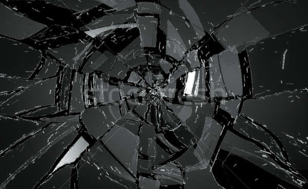 Shattered or damaged glass Pieces on black Stock photo © Arsgera