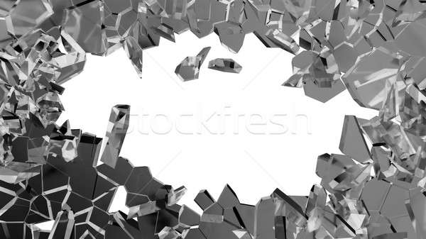 Shattered or smashed glass: sharp Pieces on white Stock photo © Arsgera
