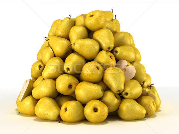 Pile or Heap of pears over white Stock photo © Arsgera