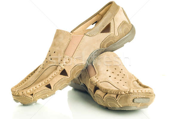 Pair of beige mens shoes moccasins Stock photo © Arsgera