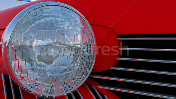 Headlight of red retro car  Stock photo © Arsgera