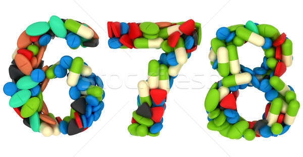 Pills font 6 7 and 8 numerals isolated Stock photo © Arsgera