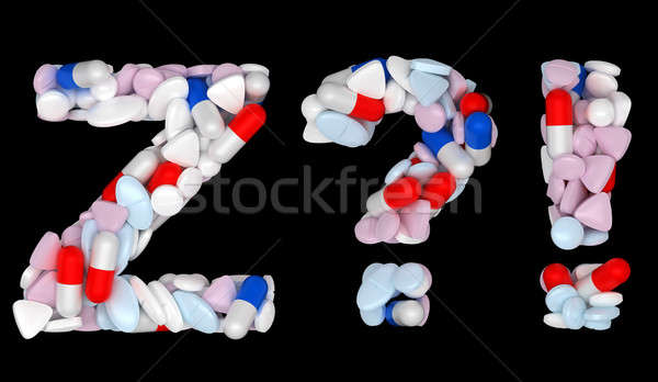 Pills font Z exlamation and query marks Stock photo © Arsgera