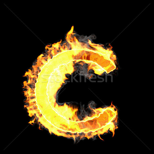 Burning and flame font C letter Stock photo © Arsgera