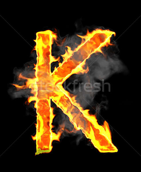 Burning and flame font K letter  Stock photo © Arsgera
