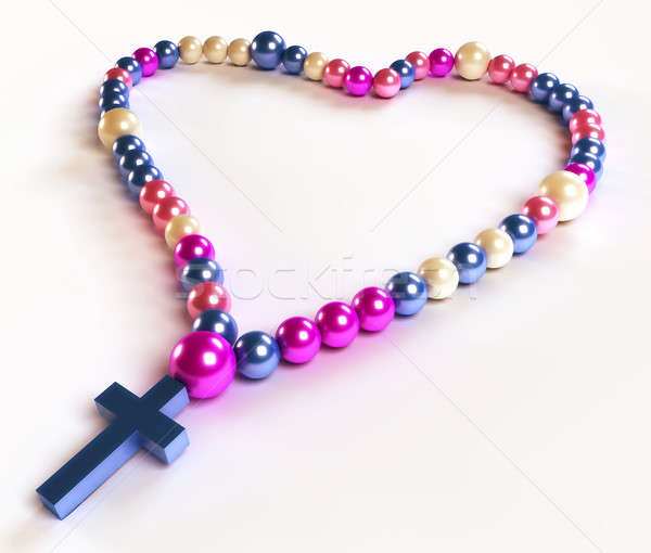 Abstract colorful rosary beads on white Stock photo © Arsgera