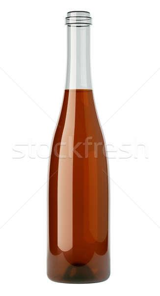 Uncorked bottle of white wine isolated on white Stock photo © Arsgera