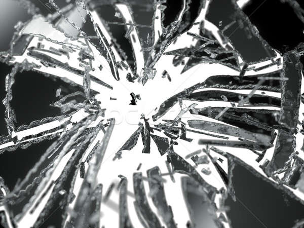 Shattered or broken glass Pieces isolated on white Stock photo © Arsgera