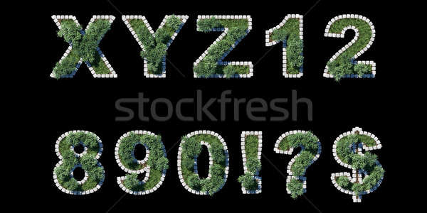 green park type set with grey cubing border on black Stock photo © Arsgera