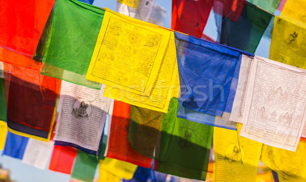 buddhist Prayer Colorful flags with mantras Stock photo © Arsgera