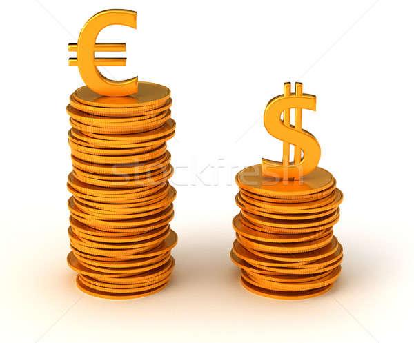 通貨 ドル ユーロ 白 金属 金融 ストックフォト © Arsgera