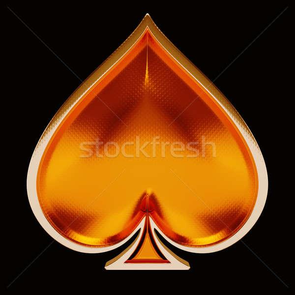 Kaart suits gouden spades zwarte poker Stockfoto © Arsgera