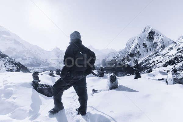 Montañismo himalaya amanecer Foto stock © Arsgera