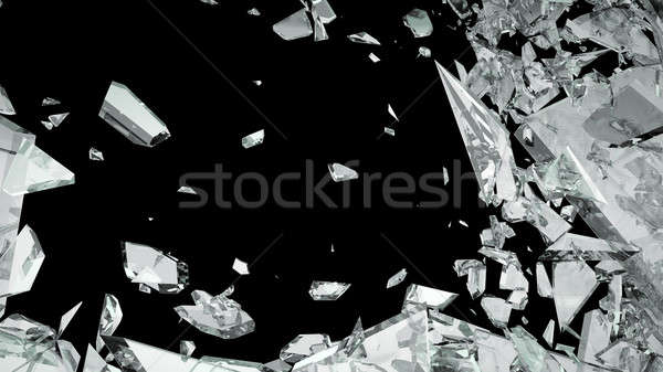 Sharp Pieces of shattered glass isolated Stock photo © Arsgera