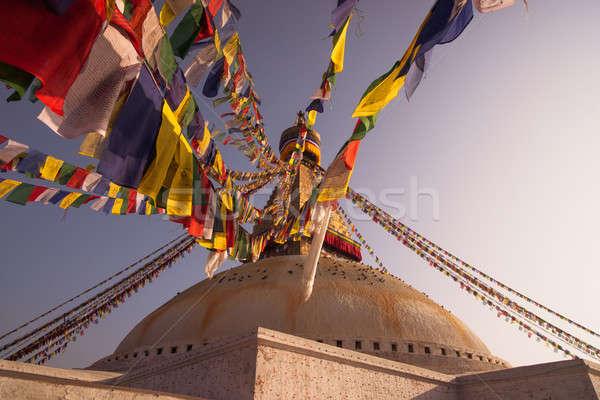 Colorful Prayer flags and Boudhanath stupa in Kathmandu Stock photo © Arsgera