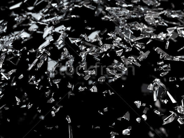 Pieces of shattered or cracked glass with shallow dof Stock photo © Arsgera