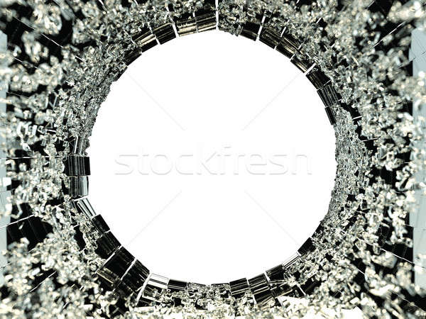 Broken Shattered black glass isolated: vandalism Stock photo © Arsgera