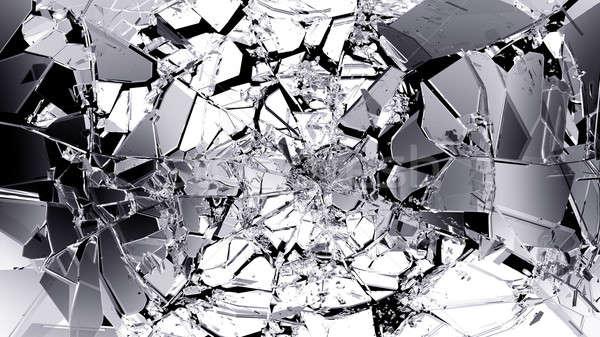 Broken and cracked glass isolated on black Stock photo © Arsgera